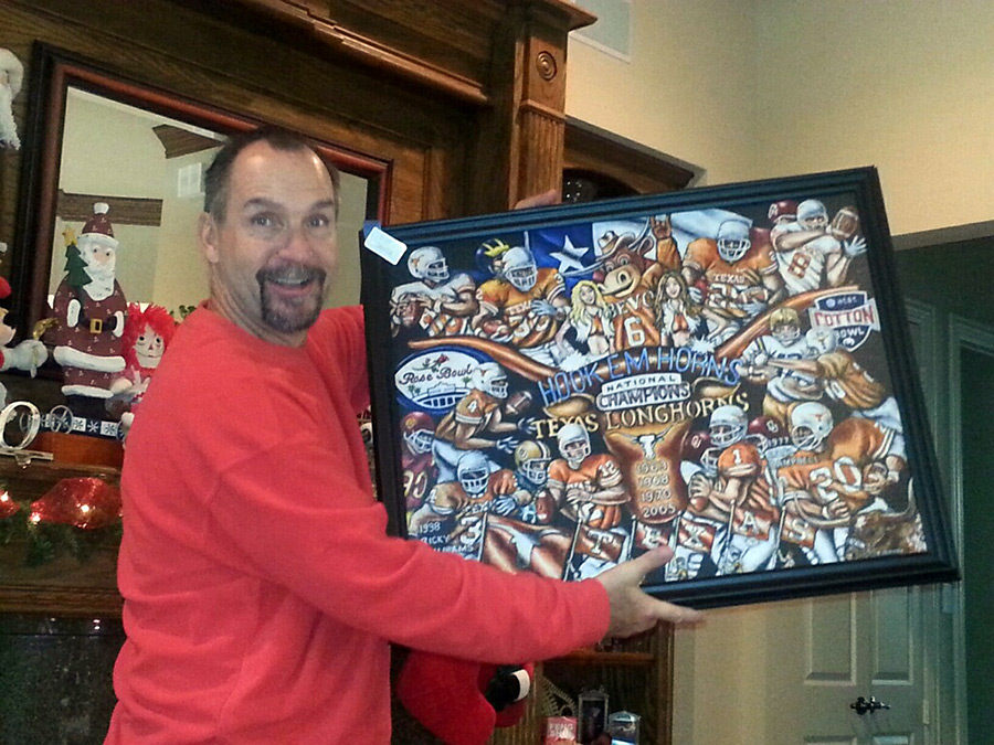 Happy Texas Fan - Hook Em Horns Painting