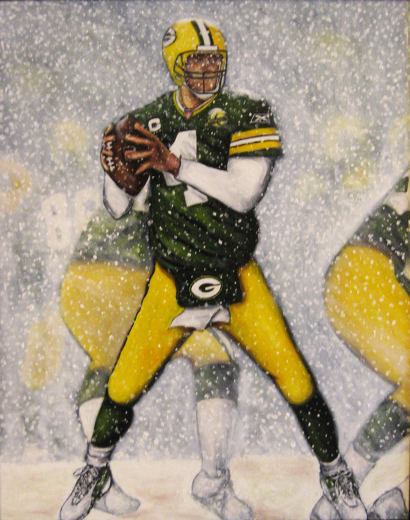 When He Was A Packer -- Sports Painting