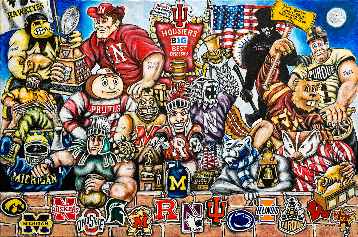 Big 10 Trophy Party -- Sports Painting