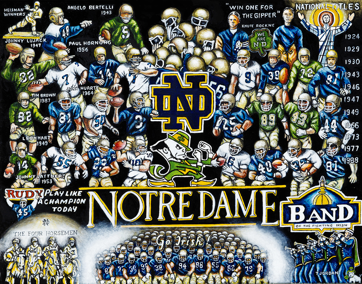 Notre Dame Tribute -- Sports Painting