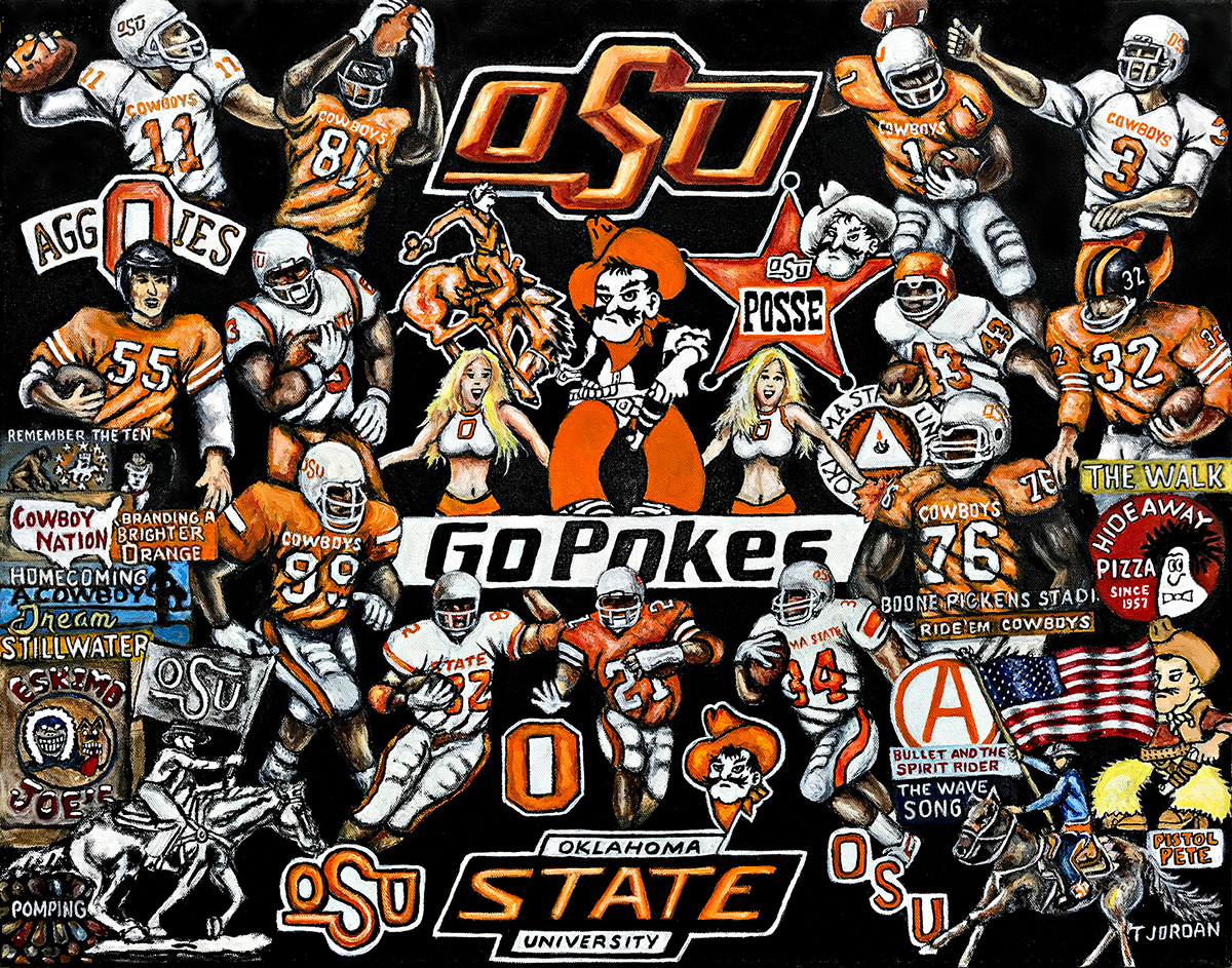 Oklahoma State Cowboys Tribute -- Sports Painting
