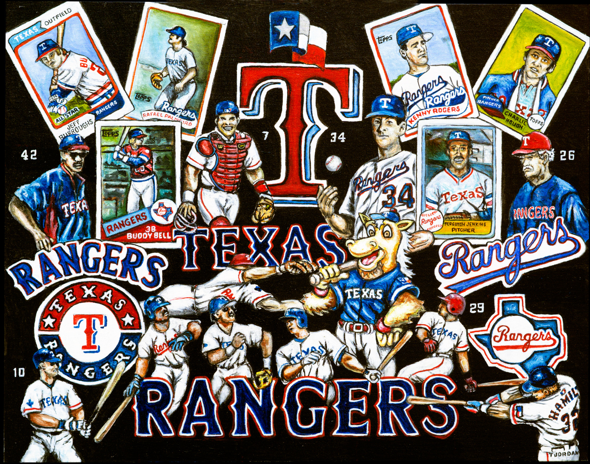Texas Rangers Tribute -- Sports Painting