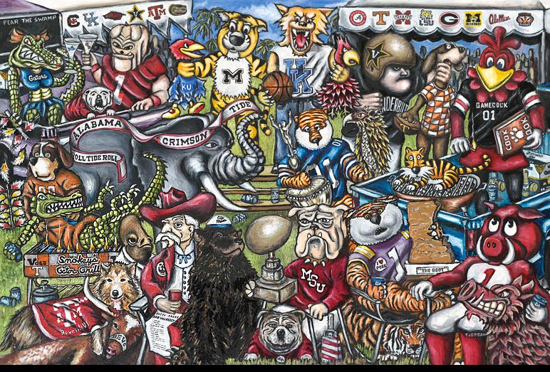Sec Football Sports Art Sec Tailgate Party Thomas